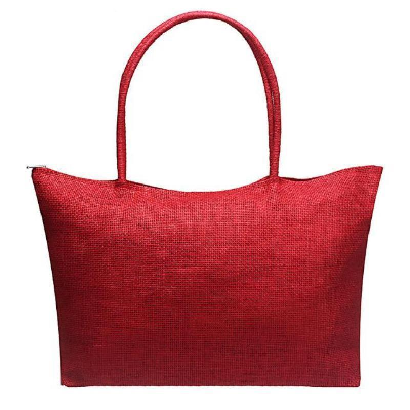 Women's Woven Straw Tote Bag - Perfect for the Beach! Rattan Bags Loom Rack Red