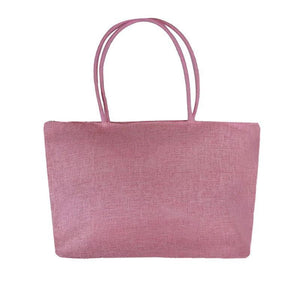 Women's Woven Straw Tote Bag - Perfect for the Beach! Rattan Bags Loom Rack Rose Pink