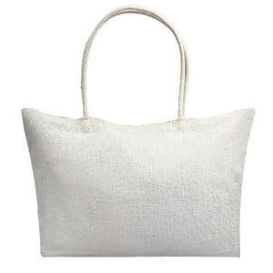 Women's Woven Straw Tote Bag - Perfect for the Beach! Rattan Bags Loom Rack White
