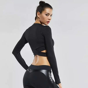 Yoga Long Sleeve Criss Cross Crop Top Yoga Shirts Loom Rack