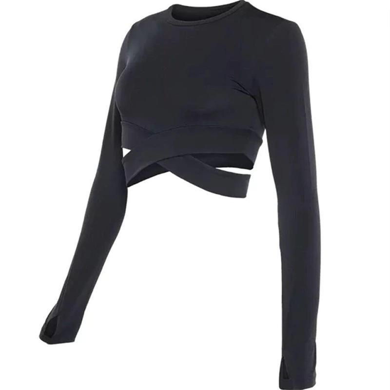 Yoga Long Sleeve Criss Cross Crop Top Yoga Shirts Loom Rack Black S