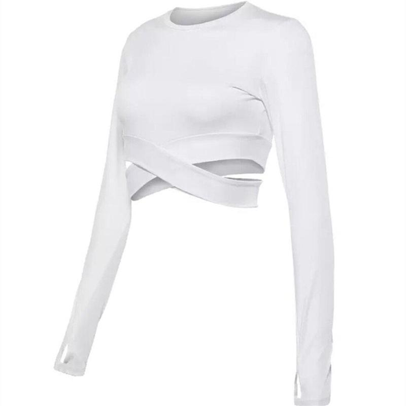 Yoga Long Sleeve Criss Cross Crop Top Yoga Shirts Loom Rack White S