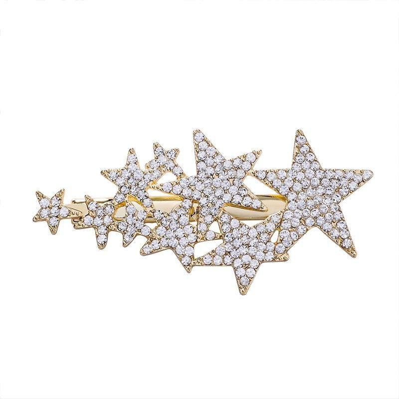 Zirzon Rhinestone Five-Star Hair Clips HairClips gold