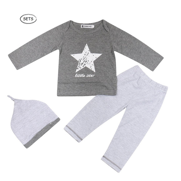3 Pieces Unisex SuperStar Baby Tops with Striped Pants and Beanie Sets - Baby Zax