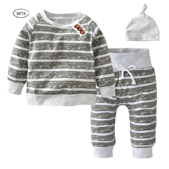 3 Pieces unisex Baby Trendy Striped Tops Pants and Beanie Sets - Baby Zax