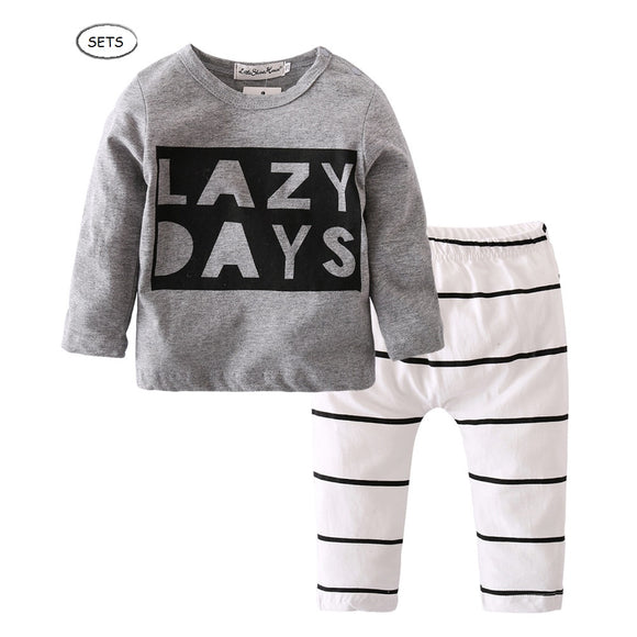 2-Pieces LAZY DAYS Long Sleeves Tee and Stripes Pants Set