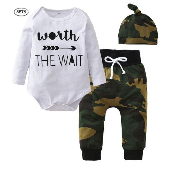 3 Pieces Baby Boys Long sleeve Worth The Wait Onesies with cool Camouflage Pants and Beanie Sets