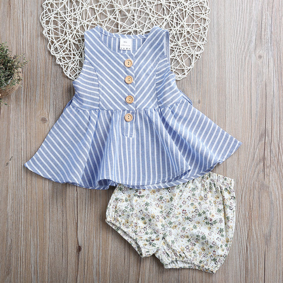2PCS Stripped Top & Floral Shorts - Baby Zax