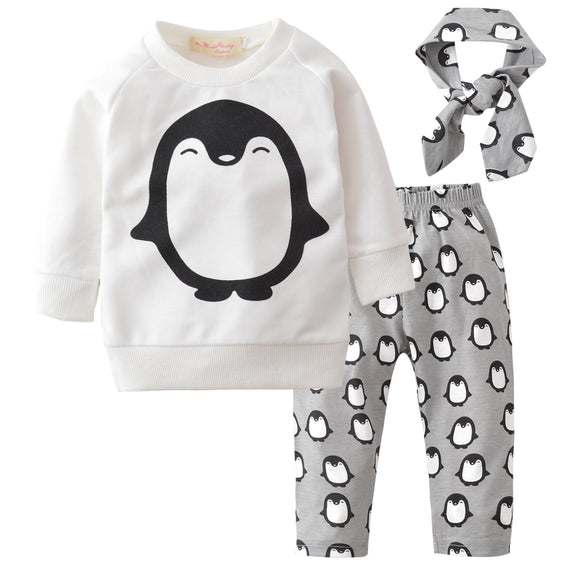 3-Pieces Lovely Penguin Set Long Sleeves Outfit Headband Pants - Baby Zax