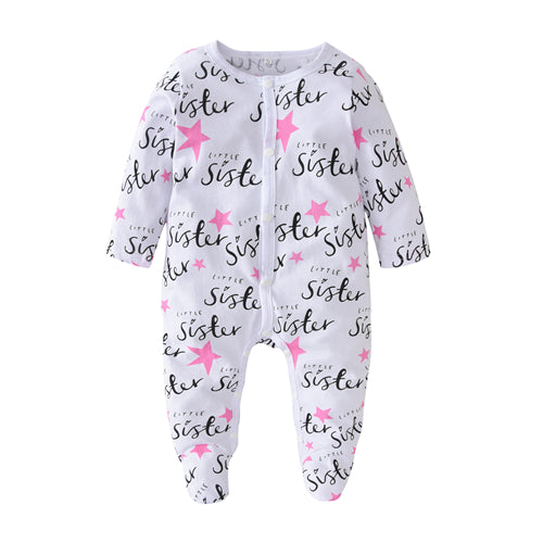 Baby Girl 100% Cotton Little Sister Jumpsuits Onesies