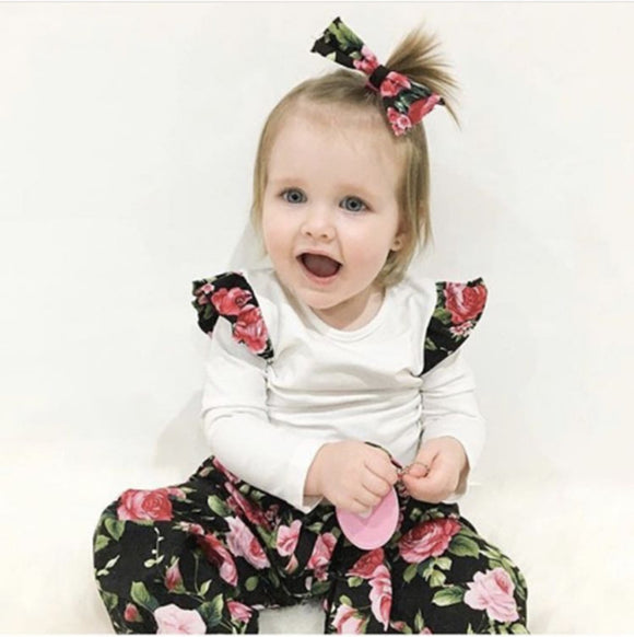 3-Pieces Flower Set Top Floral Printed Pants and Headband Set for Baby Girl - Baby Zax