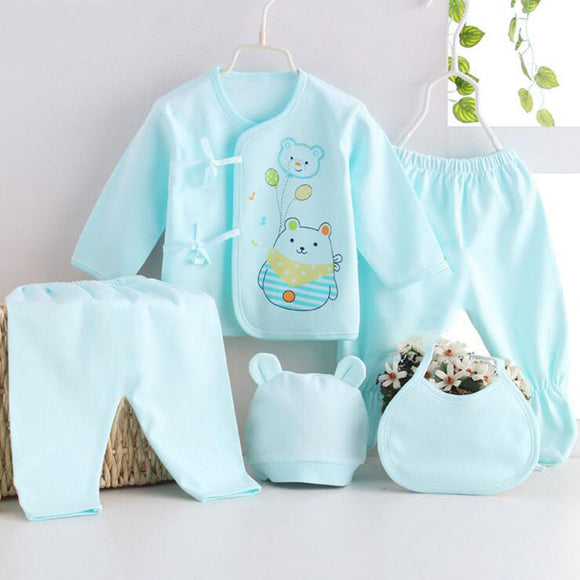 Beautiful 5 Pieces Summer Unisex Pure Cotton set - Baby Zax