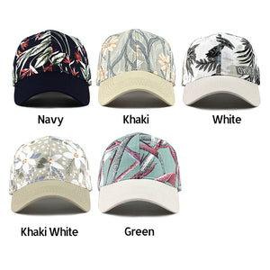 TROPICAL LEAF Printed Cap - Baseball Hat With Adjustable Strap