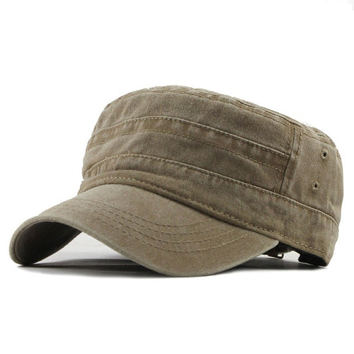Military Flat Top - Adjustable Strap Vintage Flat Hat Online