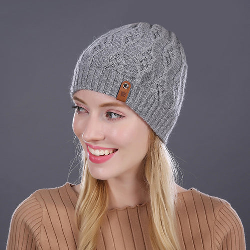 CABLE Wool Knitted Beanie Cap - Warm Hat 2020 - Steelcitylids.com