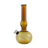 "7"" Pull-stem bubble base amber glass tobacco water pipe"