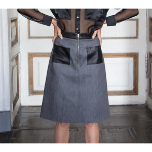 Gray denim A-line skirt - Modern Choices