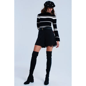 Cream striped black sweater - Modern Choices