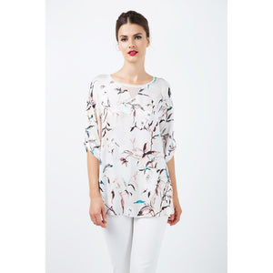 Print Satin Top with V Detail