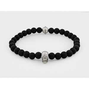 Skull Bracelet in Sterling Silver with Diamond Eyes and Black Onyx - Modern Choices