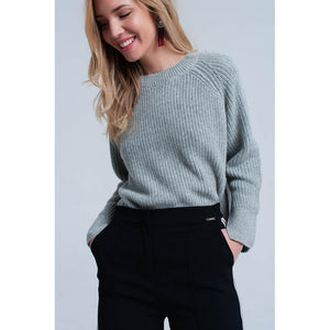 Gray knitted sweater with open side detail - Modern Choices