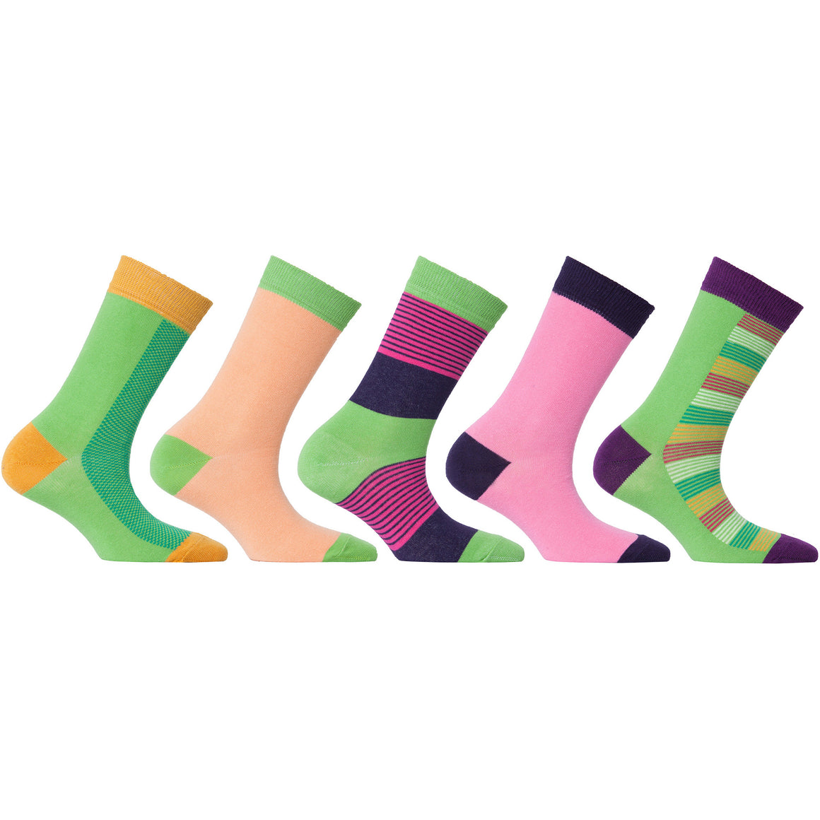 Womens 5-Pair Colorful Crew Socks - 6039