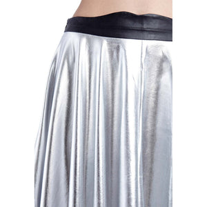 Silver pleated midi skirt in metallic - Modern Choices