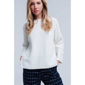 Cream knitted sweater with open side detail - Modern Choices