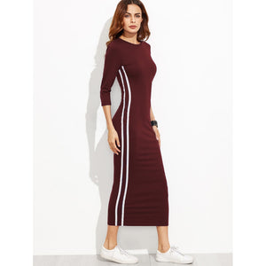 Striped Side Seam Pencil Dress