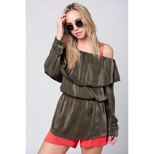 Soft green blouse with drawstring - Modern Choices