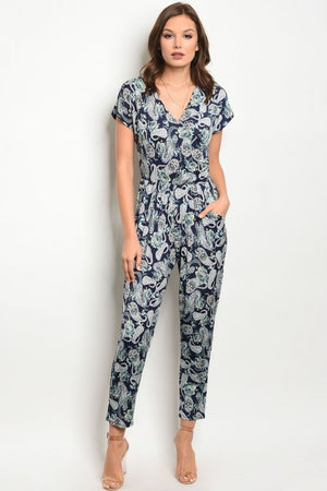 Navy Yellow Print Jumpsuit