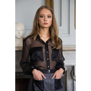Black silk - organza long sleeved shirt - Modern Choices