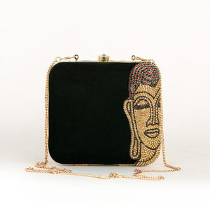 Mahatma Buddha Portrait Party Clutch + Free Protective Face Mask