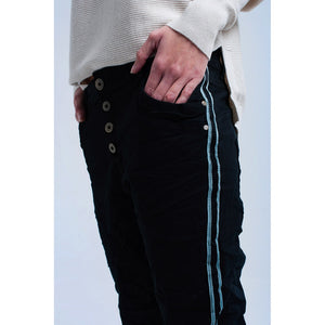 Black boyfriend jeans with buttons - Modern Choices