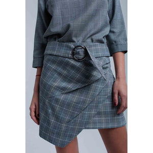 Gray tartan pattern skirt with buckle - Modern Choices