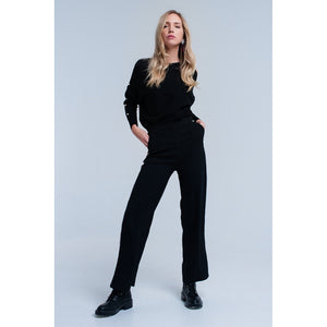 Black pants with stripe detail - Modern Choices