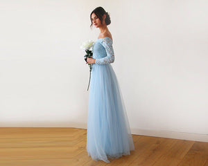 Light Blue  Off-The-Shoulder Lace and Tulle Maxi Dress 1134
