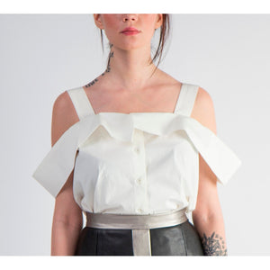 White cold-shoulder top with button front - Modern Choices