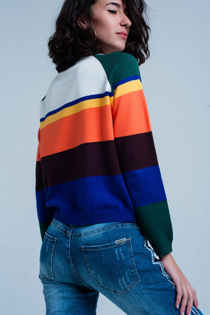 Blue Multi Colored Striped Sweater