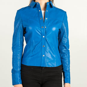 Blue Leather Shirt  + Free Protective Face Mask
