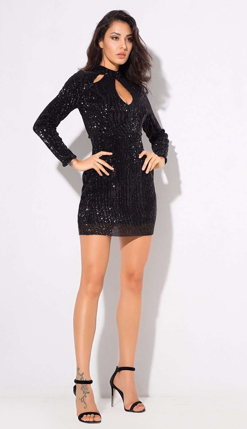 Black Sequin Bodycon Dress - Modern Choices