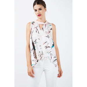 Sleeveless Print Satin Top - Modern Choices