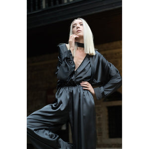 Black plunging neckline jumpsuit - Modern Choices