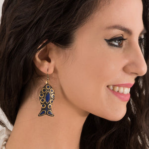 Earrings with Blue Stones and fish shape - Modern Choices