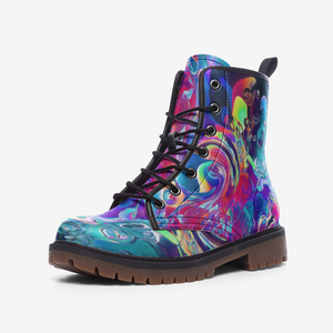 Abstract Neon Fluid Leather Combat Boots