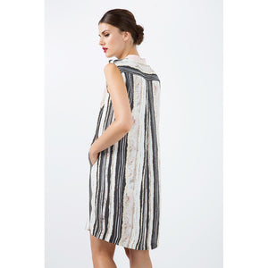Striped Straight Dress with Button Detail