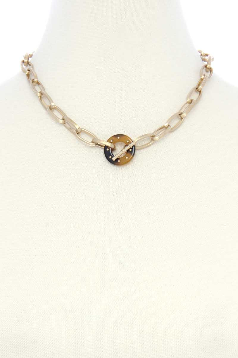 Acetate Ring Oval Link Toggle Clasp Necklace