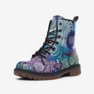 Floral Boho Vegan Leather Combat Boots