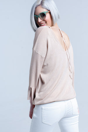 Pink knit sweater with gold lurex detail