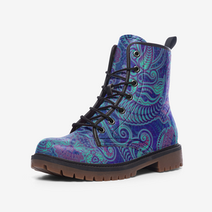 Luminous Carved Paisley Blue Leather Combat Boots
